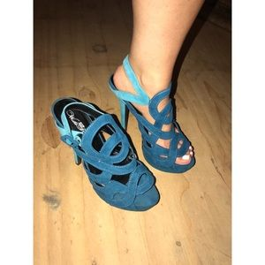 Shoes - Blue Suede Cage Heels